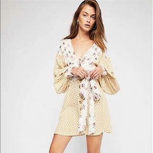 Free people v-neck dress in retro floral print